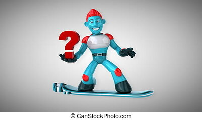 animation, -, 3d, surfer, robot