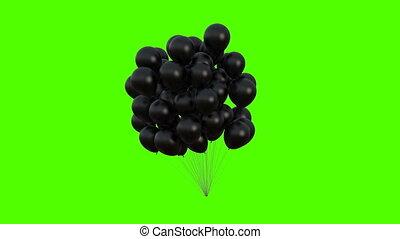 animation., 4k, 3840x2160, mouvementde va-et-vient, vent, 3d, vert, ultra, noir, arrière-plan., tas, hd, ballons