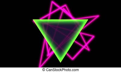 Animation abstract neon green and pink triangles, motion disco background. Elegant and luxury dynamic style for club and corporate template