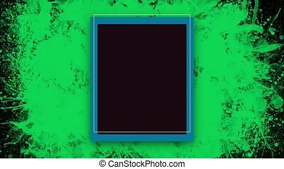 Animation abstract neon green splashes and frame, motion ...
