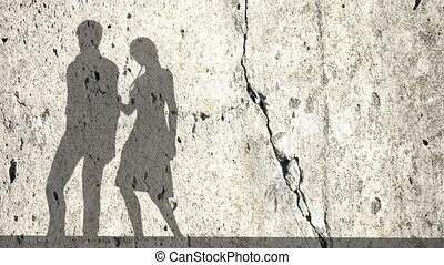 Accusation between man and women, couple fighting.Shadows of a woman and man on the wall
