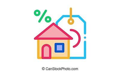 animation, achat, icône, maison, intérêt