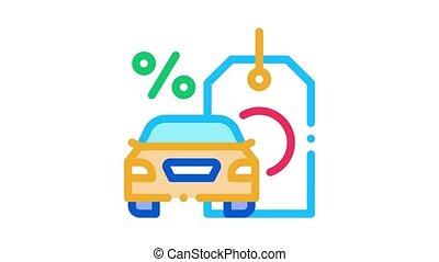 animation, achat, voiture, icône, intérêt