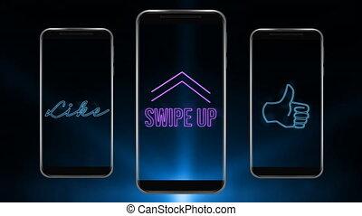 animation, aimer, trois, icône, haut, smartphones, écrans, scintiller, pouce, mots, swipe