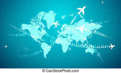 Animation airplanes connecting continents on map