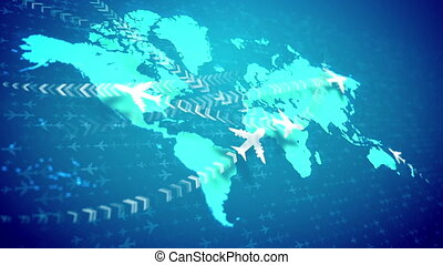 """Animation airplanes cruising over the world map "" - ""A..."