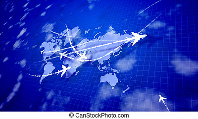 Animation airplanes flying over the global grid
