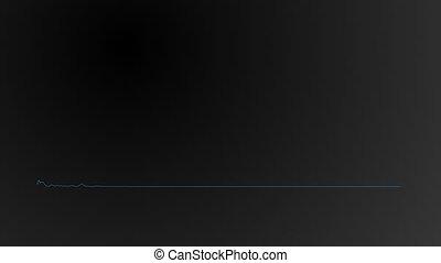Animation analog flat equalizer. Blue light on black screen