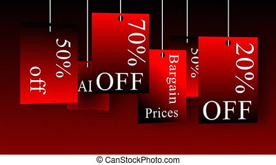 Animation announcing sales and discounts. Concept of shopping