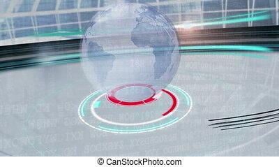 animation, apparaître, sur, grille, cercles, blanc, globe, ...