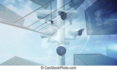 animation, appareil photo, bâtiments, surveillance, fond