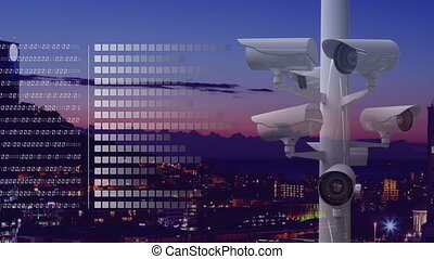 animation, appareil photo, ville, surveillance, fond