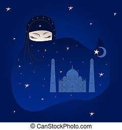 Animation Arab woman in a burqa. The night stellar sky over the city.