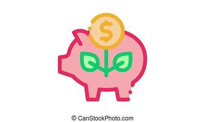 animation, argent, cochon, boîte icône