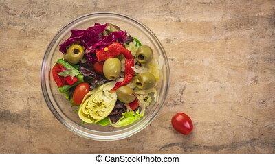 animation, arrêt, préparer, salade, sain, mouvement, -