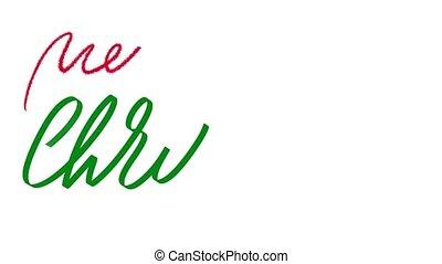 animation, arrêt, texte, peu, coeur, noël, ornaments., lettrage, écriture, motion main, element., animé, rouges, joyeux, vert