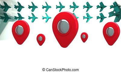 animation, avions, emplacement, rebondir, epingles, vert,...