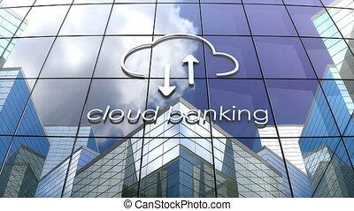 animation, bâtiment, nuage, concept, banque