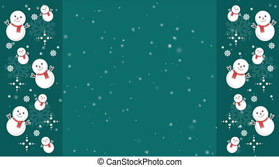 Animation background snowman for greeting collection
