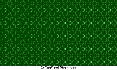 Animation background with enlarge rotating hexagon and moving lines. Dark green and green