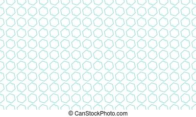 Animation background with enlarge rotating hexagon and moving lines. White and light blue