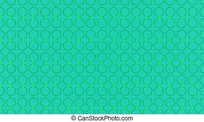 Animation background with enlarge rotating hexagon and moving lines. Blue and green