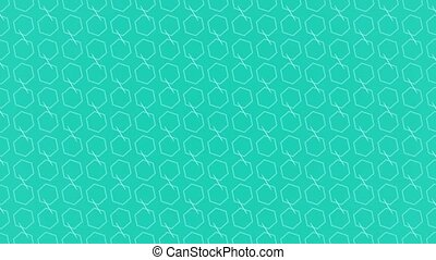 Animation background with enlarge rotating hexagon and moving lines. Blue and light blue