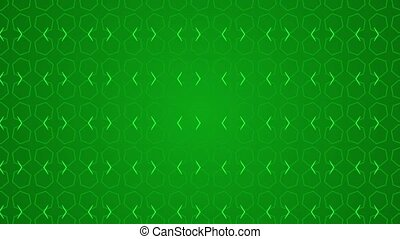 Animation background with enlarge rotating hexagon and moving lines. Green and light green