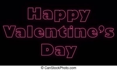 Abstract background of Happy Valentines Day with neon light animation.
