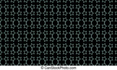 Animation background with enlarge rotating stars and moving lines. Black and blue