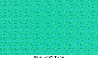Animation background with enlarge rotating triangle and moving lines. Blue and green
