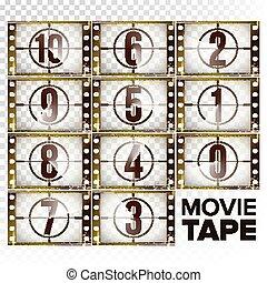 animation., baixo, números, monocromático, contagem, película, início, -, isolado, contagem regressiva, 0, strip., vector., retro, marrom, elementos, grunge, ilustração, fundo, transparente, 10, film., cinema., cronômetro