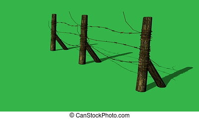 Barbed wire fence on green screen