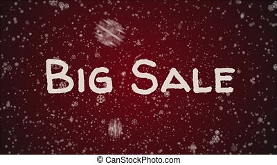 Animation Big Sale, falling snow, red background