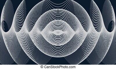 animation, blanc, vagues, former, lignes