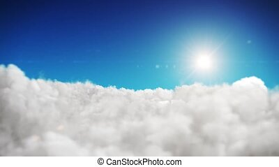 Animation blue sky and sun background with white clouds