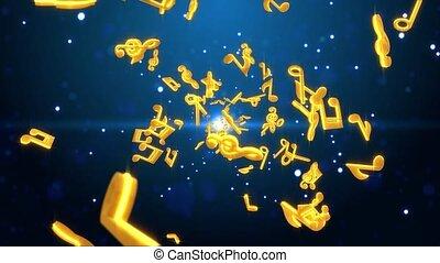 animation, boucle, coloré, fond, néon, vague, musique note, doré, concept, son