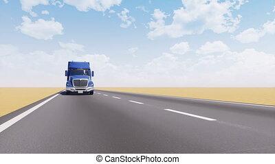 animation, camion, vide, fret, désert, route, 3d