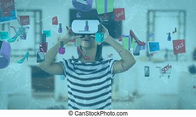 animation, caucasien, sur, produit, vr, casque à écouteurs, femme, flotter, icônes, porter