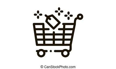 animation, charrette, icône, étiquette, magasin
