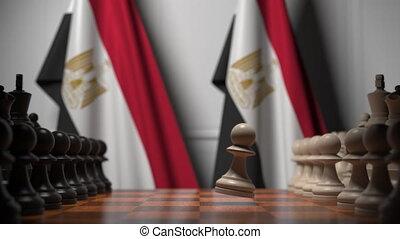animation, chessboard., ou, egypte, apparenté, 3d, gages, derrière, politique, drapeaux, jeu échecs, rivalité