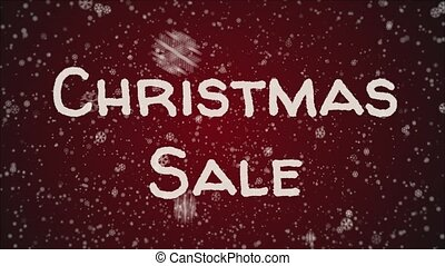Animation Christmas Sale, falling snow, red background