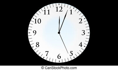 Animation, clock time with seconds, black background