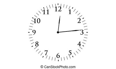 """Animation, clock time with seconds, white background, 4K"""
