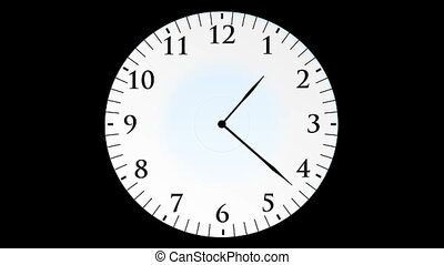 Animation, clock time without seconds, black background, HD