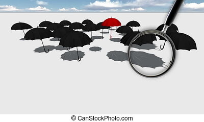 Close up of magnifying glass. Red umbrella Standing Out From The Crowd