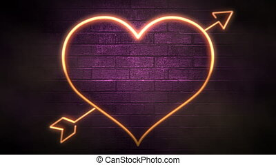 Animation closeup motion romantic heart on Valentine day shiny background