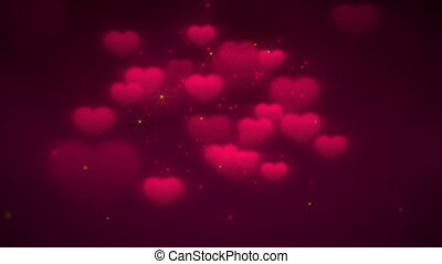 Animation closeup motion romantic hearts on Valentine day shiny background