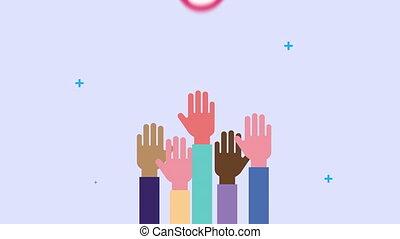 animation, coeur humain, mains, diversité, haut