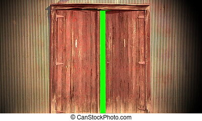 Computer generated animation of an old wooden door opening...